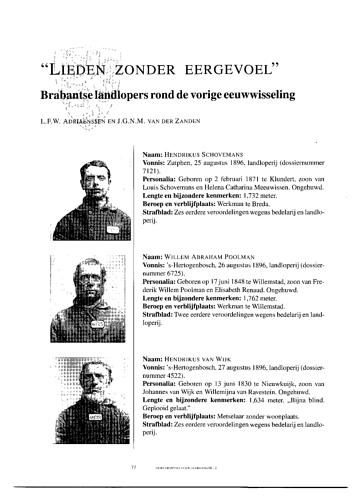 """Lieden zonder eergevoel"""", Brabantse landlopers rond de vorige eeuwwisseling"""