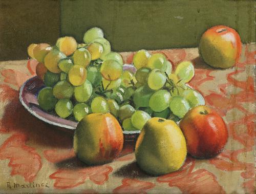 Stilleven met druiven en appels