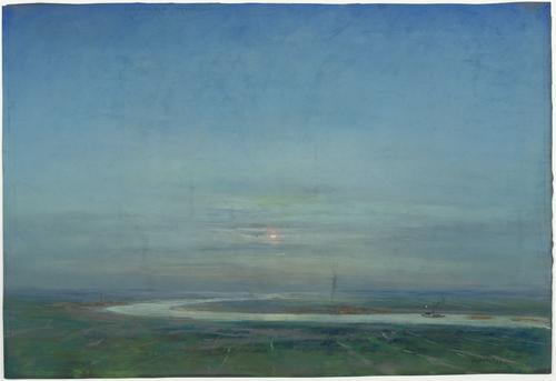De rivieren voeren de klei aan Vervaardiger   Herman Heijenbrock  Beschrijving   Zicht op een landschap met een rivier. Op de rivier vaart een schip (zeer klein afgebeeld) met aken. Te zien aan het waterige zonnetje zou het vroeg in de ochtend kunnen zijn.  Identificatie   2001-270  Soort object   Pastel