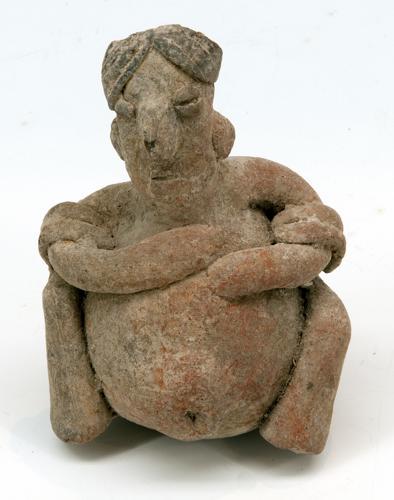 Rammelaar in de vorm van een zwangere vrouw, Colima-cultuu