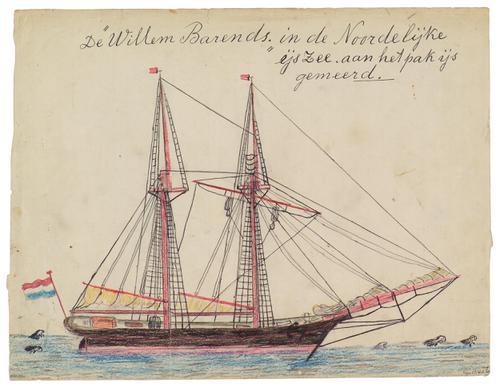 De Willem Barents in de Noordelijke IJszee aan het pakijs gemeerd