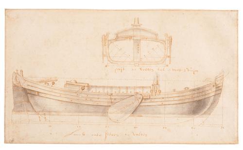 Zijaanzicht en grootspant van een wijdschip