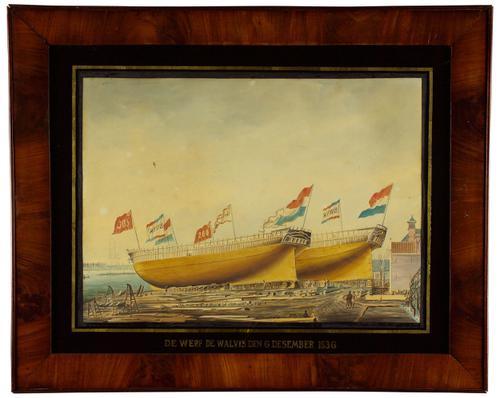Het fregatschip Koning der Nederlanden en het barkschip...