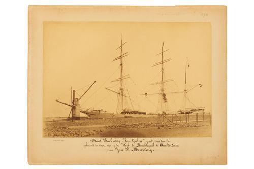 Foto's [waarvan twee identiek] van het stalen barkschip Van Galen