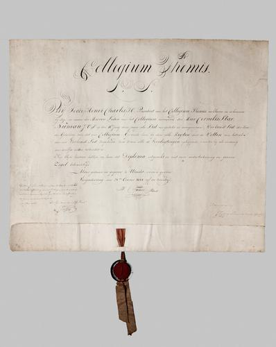 Oorkonde van het lidmaatschap van Cornelis Star Numan van het Collegium Themis