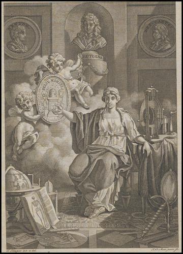 Gravure met een allegorische afbeelding, Felix Meritis.
