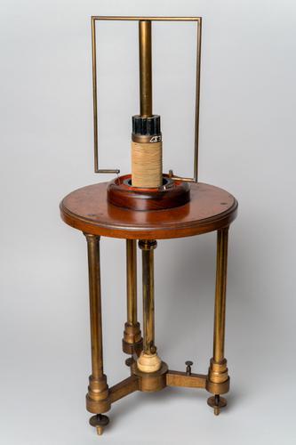 Toestel voor het draaien van een stroomgeleider om een magneet