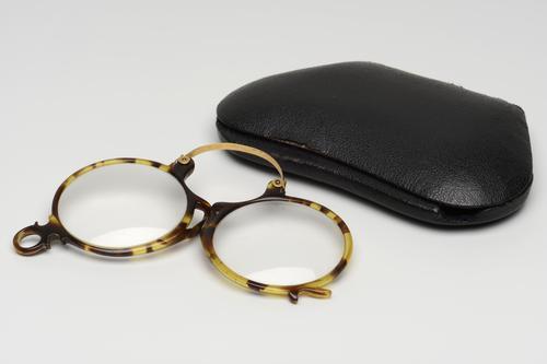 Knijpbril met hoornen montuur in etui