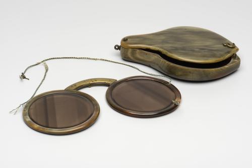 Vouwbril met hoornen montuur en etui