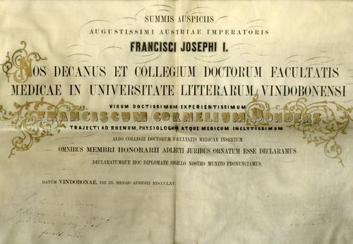 Bul eredoctoraat Franciscus Cornelis Donders Oostenrijkse Universiteit te Wenen