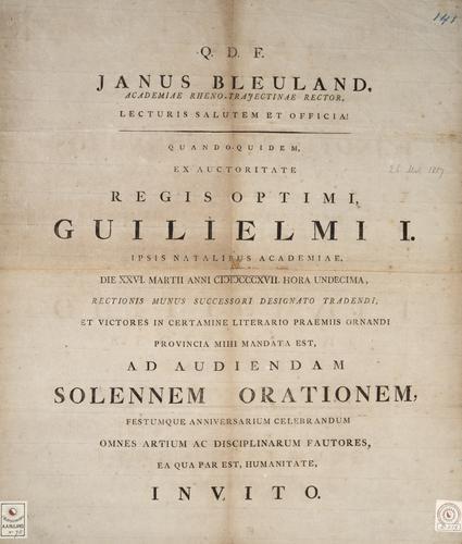 Aankondiging van rectoraatsoverdracht Jan Bleuland
