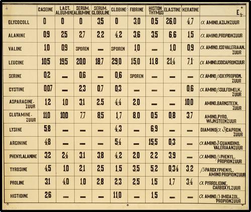 Onderwijsplaat met tabel m.b.t. eiwitten