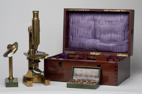 Samengesteld achromatisch microscoop op hoefijzer statief
