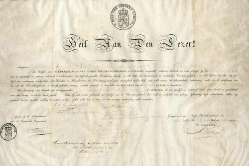 Diploma van een 'kweekeling' aan 's Rijks Veeartsenijschool