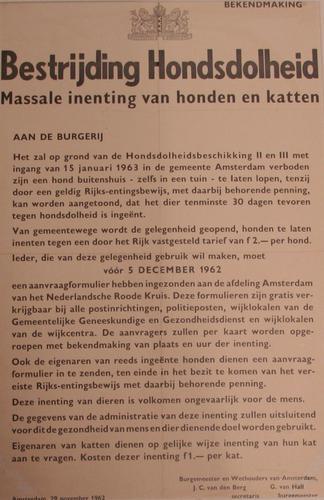 Affiche m.b.t. inenting tegen hondsdolheid