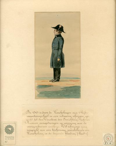 Aquarel uit de eerste helft van de 19e eeuw van een student diergeneeskunde in uniform