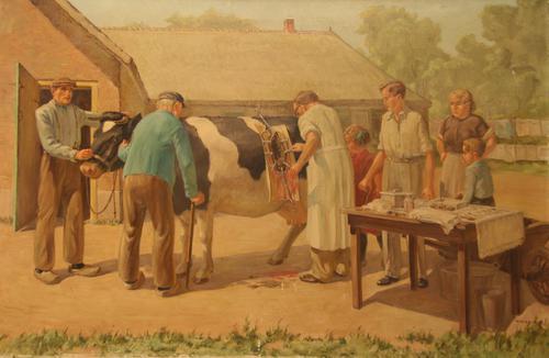 Schilderij van Dokter Vlimmen in actie bij een keizersnede